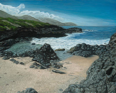 Painting - Visitor At Kaena Point by Michael Allen Wolfe