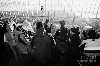 Visitors On Observation Deck Of The Empire State Building New York City Usa Art Print by Joe Fox