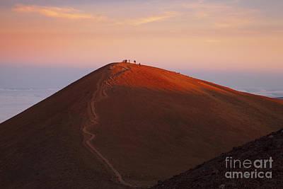 Visitors Watching Sunset From Cinder Cone Called Puu Wekiu, Summit Of Mauna Kea_ Island Of Hawaii, Hawaii, United States Of America Art Print by Charmian Vistaunet