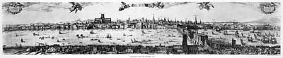 Watercolor On Paper Drawing - Visscher's View Of London by Celestial Images