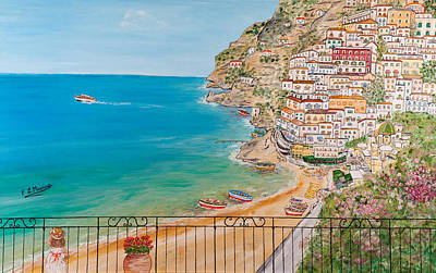 Art Print featuring the painting Vista Su Positano by Loredana Messina