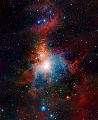 Vista Telescope Infrared View Orion Nebula Enhanced Art Print by L Brown