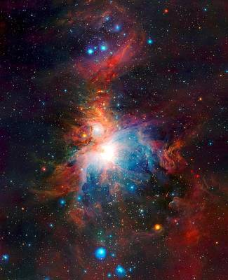 Observer Mixed Media - Vista Telescope's Infrared View Orion Nebula Enhanced 3 by L Brown