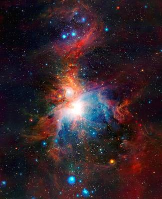 Observer Photograph - Vista Telescope's Infrared View Orion Nebula Enhanced II by L Brown