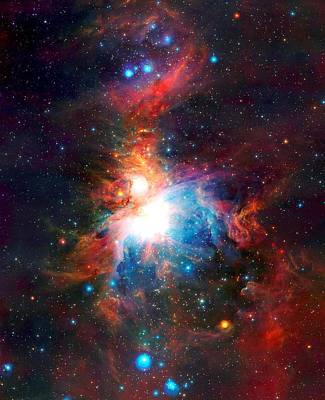 Observer Mixed Media - Vista Telescope's Infrared View Orion Nebula Enhanced Iv by L Brown