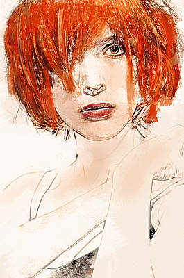 Digital Art - Vital Redhead Portrait by Galen Valle