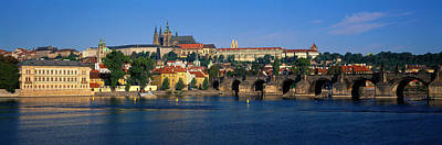 Prague Castle Photograph - Vitava River Charles Bridge Prague by Panoramic Images