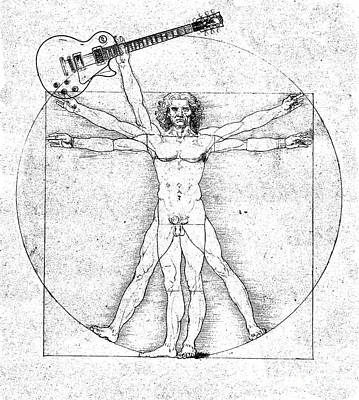 Rock And Roll Drawing - Vitruvian Guitar Man Bw by Jon Neidert