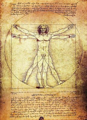 Da Vinci Digital Art - Vitruvian Man  1490 by Daniel Hagerman