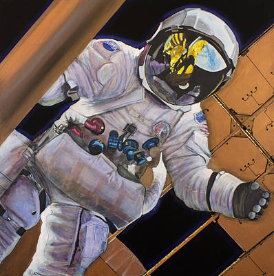 Astronauts Painting - Vitruvian Man- Alan Bean.  by Simon Kregar