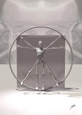 Vitruvius Digital Art - The Vitruvian Android by Quim Abella