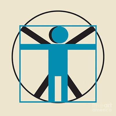 Proportions Digital Art - Vitruvian Man Simplified    by Igor Kislev