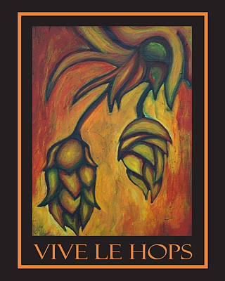 Vive Le Hops In Black Art Print by Alexandra Ortiz de Fargher