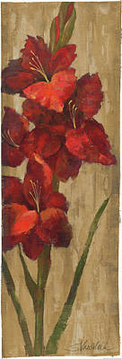 Gladiola. Red Gladiola Painting - Vivid Red Gladiola On Gold by Silvia Vassileva