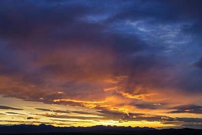 Vivid Sunset Over The Rocky Mountain Art Print