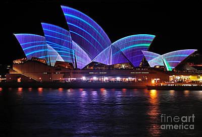 Photograph - Vivid Sydney By Kaye Menner - Opera House ... Blue Lines by Kaye Menner