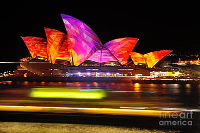 Vivid Sydney By Kaye Menner - Opera House ... Triangles Art Print by Kaye Menner
