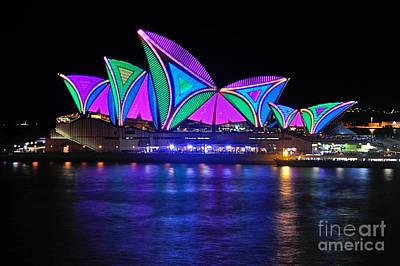 Photograph - Vivid Sydney By Kaye Menner - Opera House... Patterns 2 by Kaye Menner