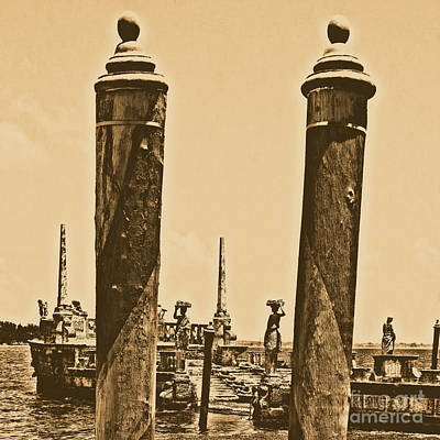 Digital Art - Vizcaya Boat Dock Posts And Breakwater Ship Biscayne Bay Miami Square Format Rustic Digital Art by Shawn O'Brien