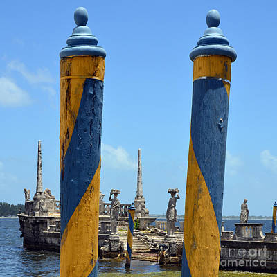 Landmark Photograph - Vizcaya Boat Dock Posts And Breakwater Ship Biscayne Bay Miami Square Format by Shawn O'Brien