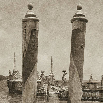 Digital Art - Vizcaya Boat Dock Posts And Breakwater Ship Biscayne Bay Miami Square Format Vintage Digital Art by Shawn O'Brien
