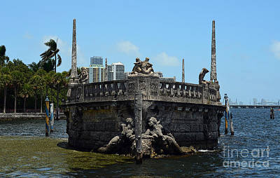 Digital Art - Vizcaya Breakwater Ship Bow And Skyline Biscayne Bay Coconut Grove Miami Florida Poster Edges by Shawn O'Brien