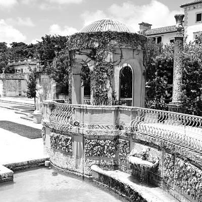 Vizcaya Mansion Museum Grounds Botanical Gardens Atrium Miami Florida Square Format Black And White Art Print