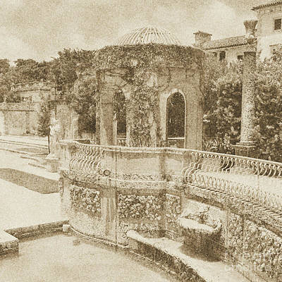 Digital Art - Vizcaya Mansion Museum Grounds Botanical Gardens Atrium Miami Florida Square Format Vintage Digital by Shawn O'Brien