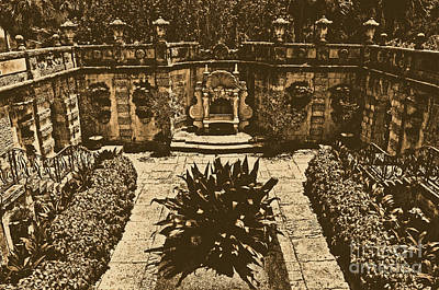 Digital Art - Vizcaya Mansion Museum Grounds Botanical Gardens Courtyard Miami Florida Rustic Digital Art by Shawn O'Brien