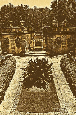 Digital Art - Vizcaya Mansion Museum Grounds Botanical Gardens Courtyard Miami Florida Vertical Rustic Digital Art by Shawn O'Brien