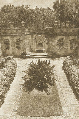Digital Art - Vizcaya Mansion Museum Grounds Botanical Gardens Courtyard Miami Florida Vertical Vintage Digital Ar by Shawn O'Brien
