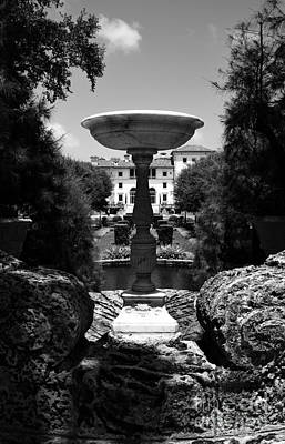 Photograph - Vizcaya Mansion Museum Grounds Botanical Gardens Fountain Miami Florida Vertical Black And White by Shawn O'Brien