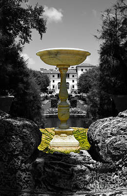 Photograph - Vizcaya Mansion Museum Grounds Botanical Gardens Fountain Miami Florida Vertical Color Splash Bw by Shawn O'Brien