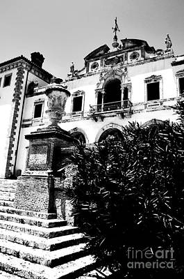 Photograph - Vizcaya Mansion Museum Veranda View Coconut Grove Biscayne Bay Miami Florida Bw Digital Art by Shawn O'Brien