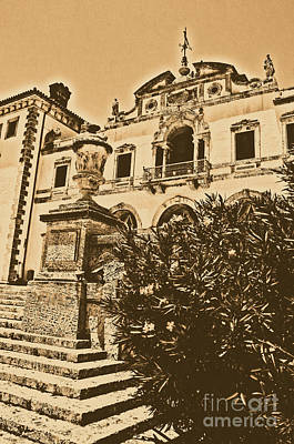 Digital Art - Vizcaya Mansion Museum Veranda View Coconut Grove Biscayne Bay Miami Florida Rustic Digital Art by Shawn O'Brien