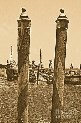 Digital Art - Vizcaya Museum Boat Dock Posts And Stone Ship Breakwater Biscayne Bay Miami Rustic Digital Art by Shawn O'Brien