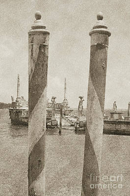 Digital Art - Vizcaya Museum Boat Dock Posts And Stone Ship Breakwater Biscayne Bay Miami Vintage Digital Art by Shawn O'Brien