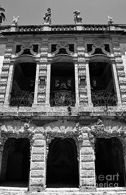Vintage Photograph - Vizcaya Museum Estate Casino Building Miami Florida Vertical Format Black And White by Shawn O'Brien