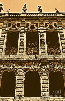 Digital Art - Vizcaya Museum Estate Casino Building Miami Florida Vertical Format Rustic Digital Art by Shawn O'Brien