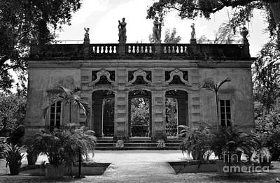 Photograph - Vizcaya Museum Estate Casino Facade Miami Florida Black And White by Shawn O'Brien