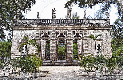 Digital Art - Vizcaya Museum Estate Casino Facade Miami Florida Colored Pencil Digital Art by Shawn O'Brien