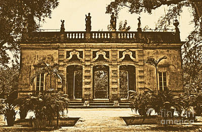 Digital Art - Vizcaya Museum Estate Casino Facade Miami Florida Rustic Digital Art by Shawn O'Brien