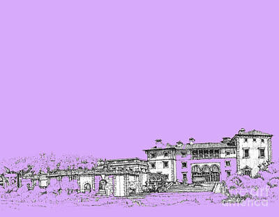 Ink Drawing Drawing - Vizcaya Museum In Lilac by Building  Art