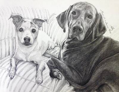 Akc Drawing - Vizsla And Jack by Sun Sohovich