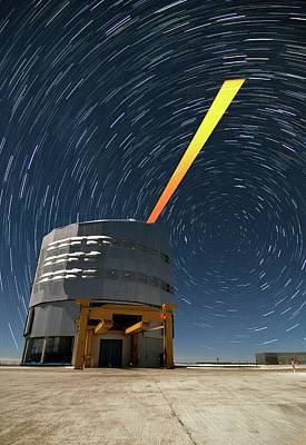 Vlt And Laser Guide Under Star Trails Print by Dave Jones/eso