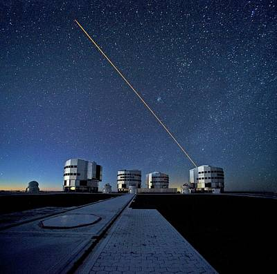 Vlt And Laser Guide Under Stars Print by Eso/s. Brunier