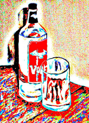 Bar Scene Painting - Vodka Bottle And Glass Colorful by