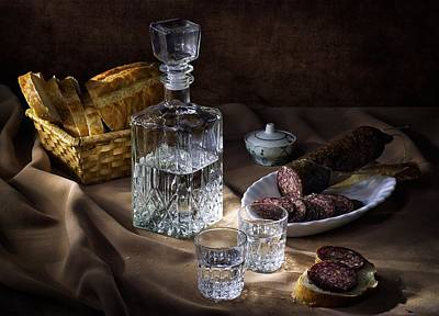 Vodka In A Decanter And Sausage Original by Nikolay Lyapin