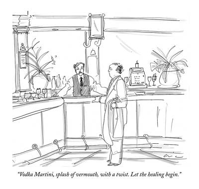 Drinking Drawing - Vodka Martini by Richard Cline