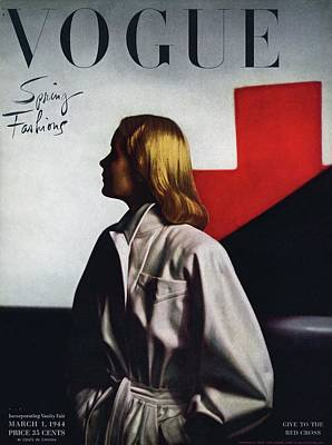 Female Photograph - Vogue Cover Featuring A Model Wearing A White by Horst P. Horst